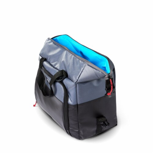 Igloo Durable & Adjustable Insulated Snapdown 36 Can Cooler Bag, Black and Gray Perspective: top