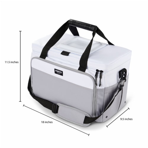 Igloo Coast Durable & Compact Insulated 36 Can Cooler Duffel Bag, White and Gray Perspective: top