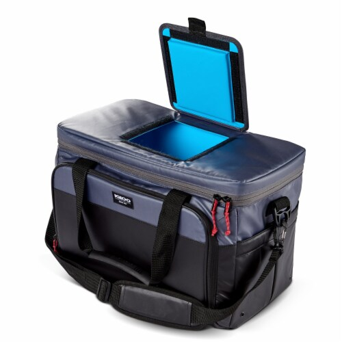 Igloo Coast Durable and Compact Insulated 36 Can Cooler Duffel Bag, Dark Blue Perspective: top