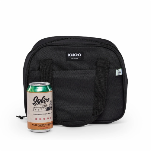 Igloo REPREVE Insulated 12 Can Soft Lily Lunch Bag Cooler with Handles, Black Perspective: top