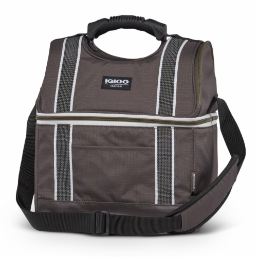 Igloo 22 Can Playmate Gripper Large Portable Lunchbox Soft Cooler Bag, Olive Perspective: top