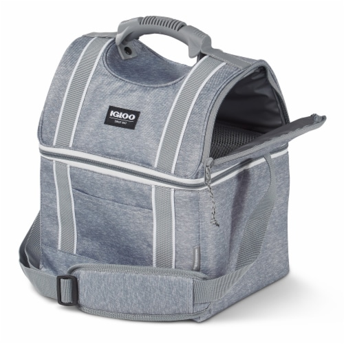 Igloo 22 Can Playmate Gripper Large Portable Lunchbox Soft Cooler Bag, Gray Perspective: top