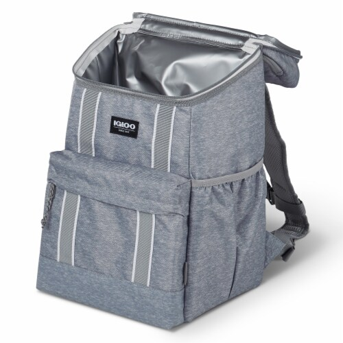 Igloo 30 Can Large Portable Insulated Soft Cooler Backpack Carry Bag, Light Gray Perspective: top