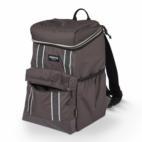 Igloo 30 Can Large Portable Insulated Soft Cooler Backpack Carry Bag, Olive Perspective: top