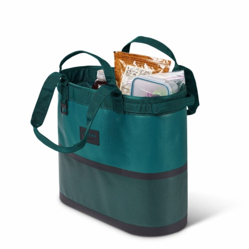 Igloo Reactor Portable 56 Can Soft Sided Insulated Cinch Cooler Tote Bag, Teal Perspective: top