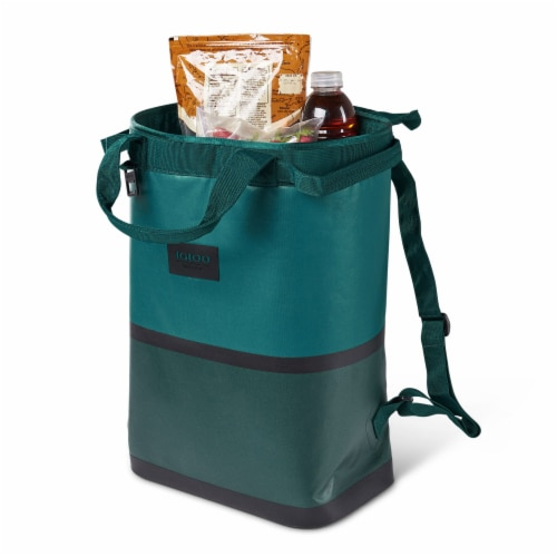 Igloo Reactor Portable 46 Can Soft Insulated Cinch Backpack Cooler Bag, Teal Perspective: top