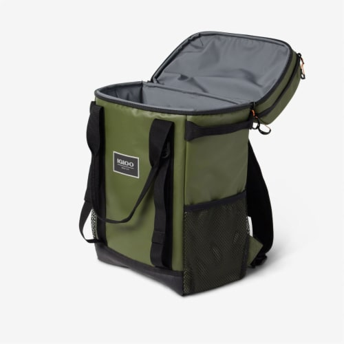 Igloo Pursuit 24 Can Portable Backpack Cooler w/ Adjustable Straps, Chive Green Perspective: top