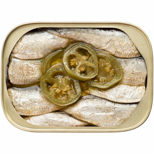 King Oscar® Sardines in Olive Oil with Jalapeno Peppers Perspective: top