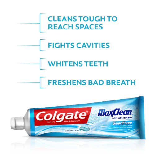 Colgate MaxClean Effervescent Mint Smart Foam Toothpaste Perspective: top