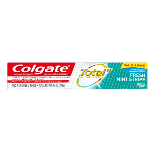 Colgate Total Fresh Mint Stripe Value Pack Toothpaste Perspective: top