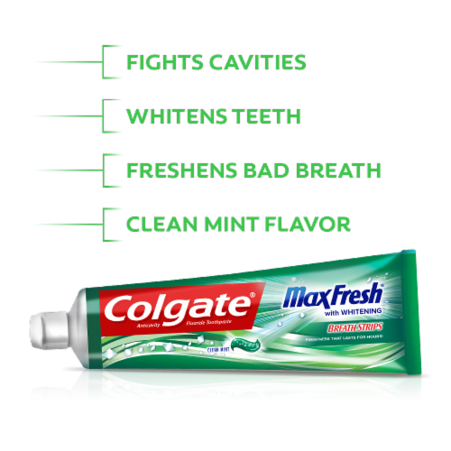 Colgate MaxFresh Clean Mint Whitening Toothpaste with Breath Strips Perspective: top