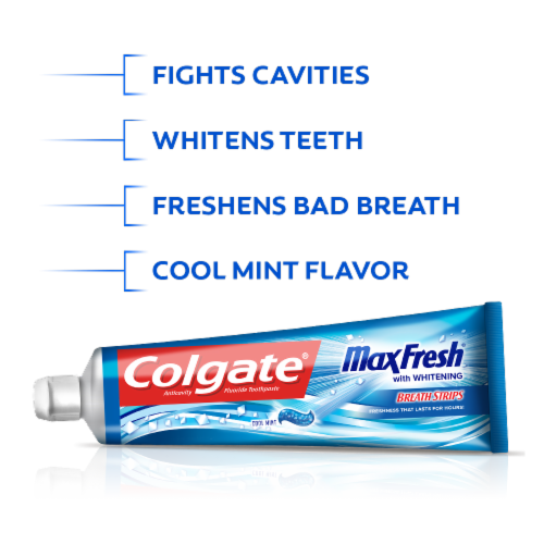 Colgate Max Fresh Cool Mint Anticavity Fluoride Toothpaste Perspective: top