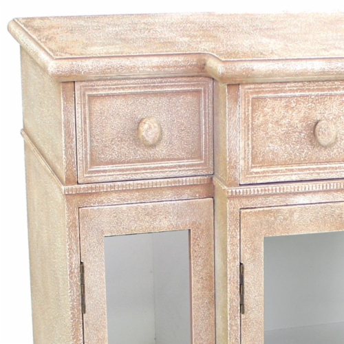 Vintage French Style Distressed Hallway Cabinet Perspective: top
