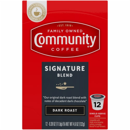 Community Coffee Signature Blend Dark Roast Single-Serve Cups Perspective: top