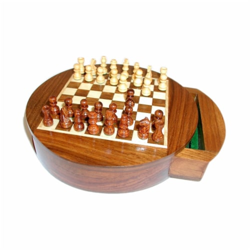 Wordlwise Magnetic Round Wood Inlaid Chess Set Perspective: top