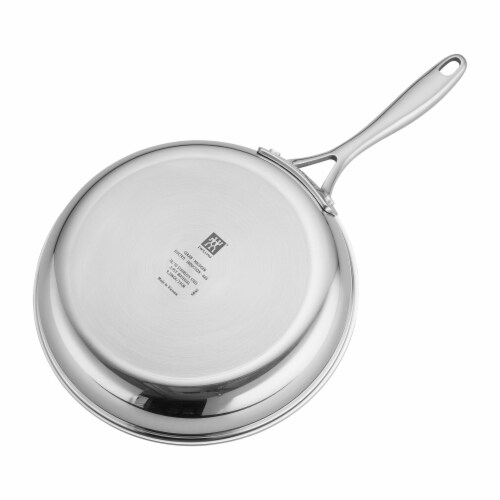 ZWILLING Clad CFX 9.5-inch Stainless Steel Ceramic Nonstick Fry Pan with Lid Perspective: top