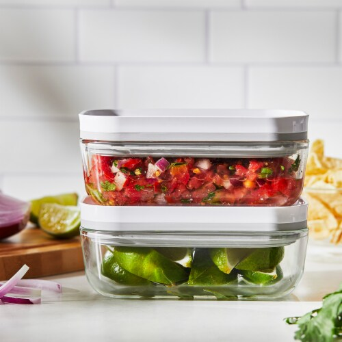 ZWILLING Fresh & Save 2-pc Glass Airtight Food Storage Container, Meal Prep Container - Small Perspective: top