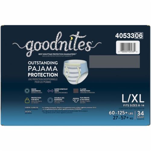 GoodNites L-XL Bedtime Underwear for Boys 34 Count Perspective: top