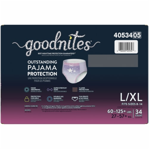 GoodNites L-XL Bedtime Underwear for Girls 34 Count Perspective: top