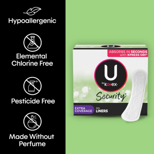 U by Kotex Lightdays Long Unscented Panty Liners Perspective: top