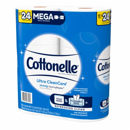 Cottonelle Ultra CleanCare Mega Roll Toilet Paper Perspective: top