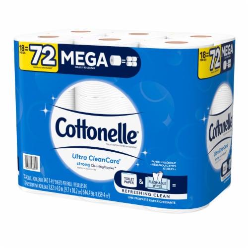 Cottonelle Ultra CleanCare Mega Roll Bath Tissue Perspective: top