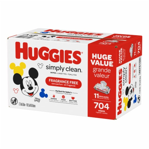 Huggies Simply Clean Unscented Baby Wipes Perspective: top