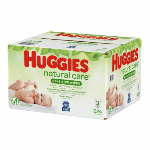 Huggies Natural Care Sensitive Baby Wipes Unscented Refill Packs Perspective: top