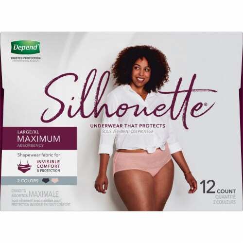 Depend Silhouette Maximum Absorbency L/XL Incontinence Underwear for Women Perspective: top