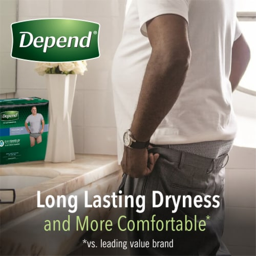 Depend Men FIT-FLEX Maximum Absorbency Large Incontinence Underwear for Men Perspective: top