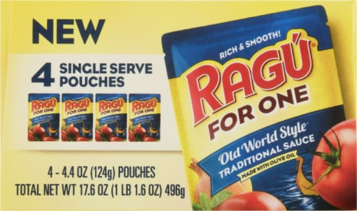 Ragu® For One Old World Style Traditional Sauce Single-Serve Pouches Perspective: top