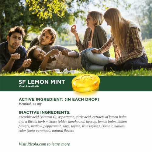 Ricola Lemon Mint Sugar Free Herb Throat Drops Family Pack Perspective: top