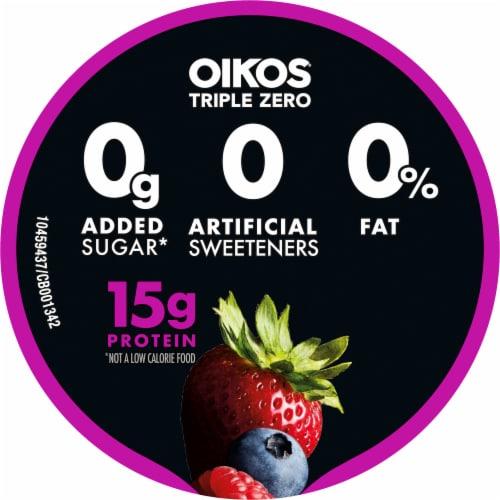 Oikos Triple Zero Blended Greek Mixed Berry Yogurt Perspective: top