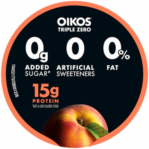 Oikos Triple Zero Blended Peach Greek Yogurt Perspective: top
