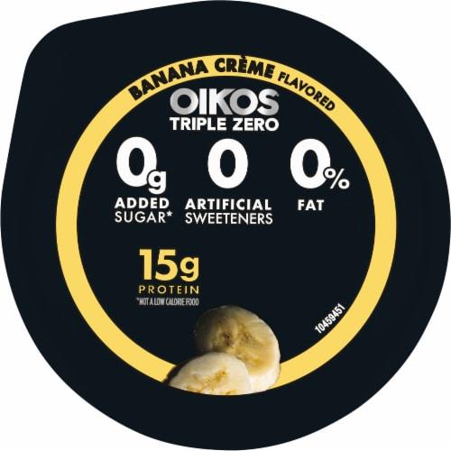 Oikos Triple Zero Banana Creme Blended Greek Yogurt Perspective: top