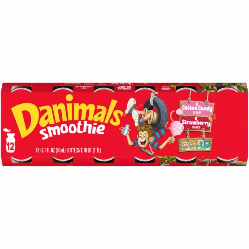 Danimals® Strawberry Explosion & Cotton Candy Yogurt Smoothie Drinks Variety Pack Perspective: top