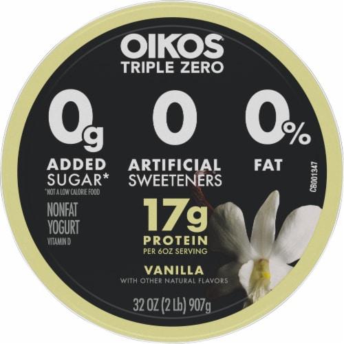 Dannon® Oikos® Triple Zero Vanilla Blended Greek Yogurt Perspective: top