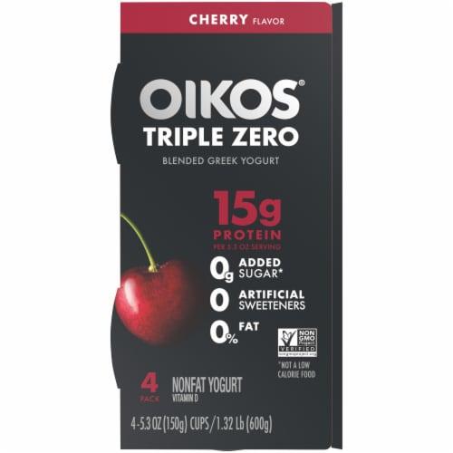 Oikos Triple Zero Cherrry Blended Nonfat Greek Yogurt Perspective: top