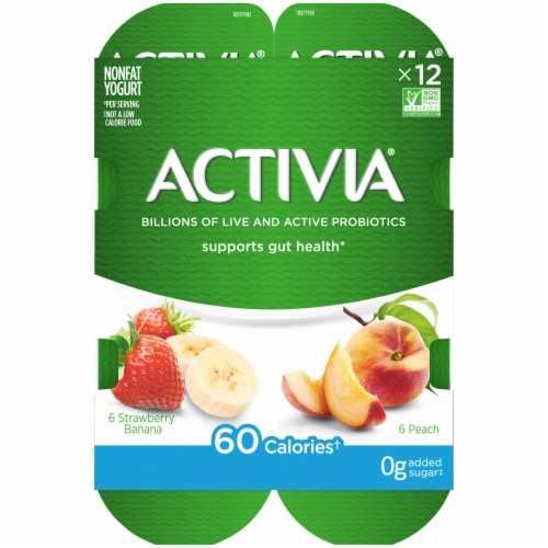 Activia Strawberry Banana & Peach Nonfat Probiotic Yogurt Perspective: top