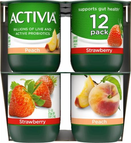 Activia Strawberry & Peach Lowfat Probiotic Yogurt Perspective: top