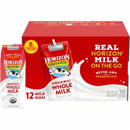 Horizon Organic Whole Milk Cartons Perspective: top