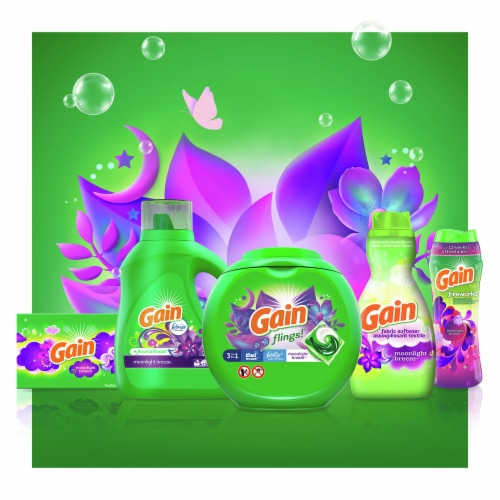 Gain Flings! Laundry Detergent Pods - Moonlight Breeze Scent with Oxi Boost & Febreze Freshness Perspective: top