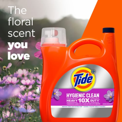Tide Hygienic Clean Spring Meadow Heavy Duty Liquid Laundry Detergent Perspective: top