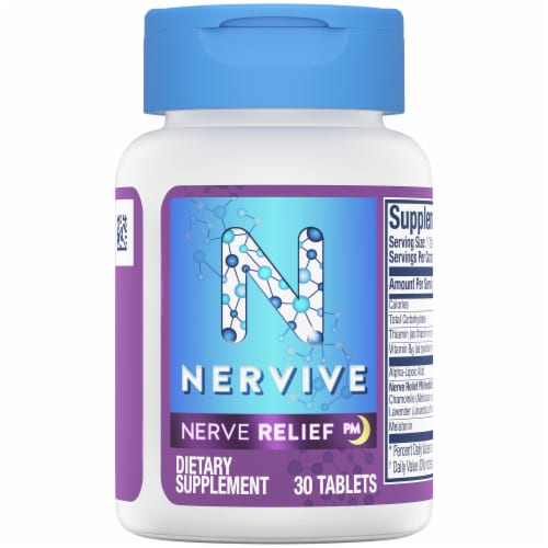 Nervive Nerve Relief PM Dietary Supplement Tablets Perspective: top