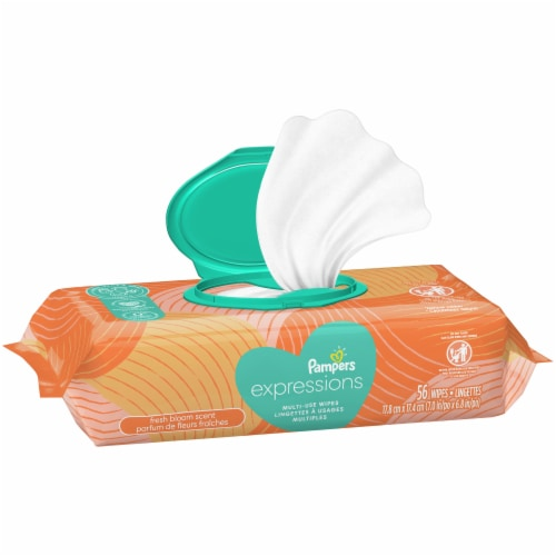 Pampers Expressions Fresh Bloom Scent Baby Wipes Perspective: top