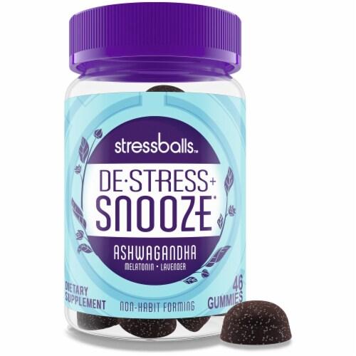 Stressballs De-Stress + Snooze Blackberry Flavor Lavender Melatonin Gummies Perspective: top