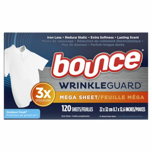 Bounce® Wrinkle Guard Outdoor Fresh Mega Dryer Sheets Perspective: top