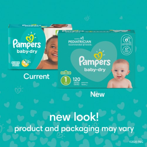 Pampers Baby Dry Full Size 5 Diapers Perspective: top