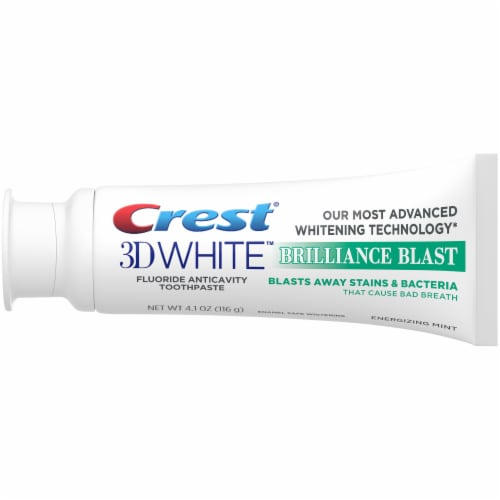 Crest 3D White Brilliance Blast Teeth Whitening Toothpaste Energizing Mint Perspective: top