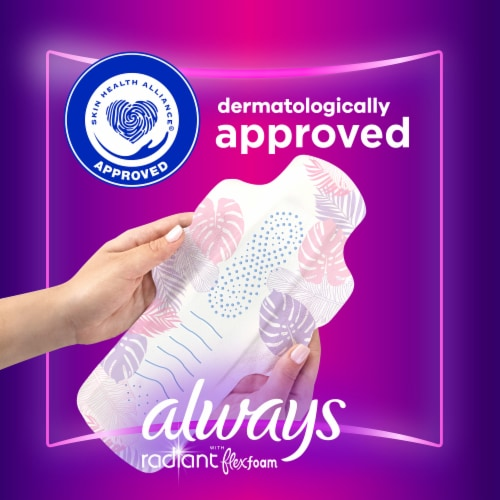 Always Radiant Size 4 Overnight Pads with Wings Perspective: top